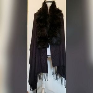 Solid Black Open Front Wrap Cardigan Faux Fur Muff